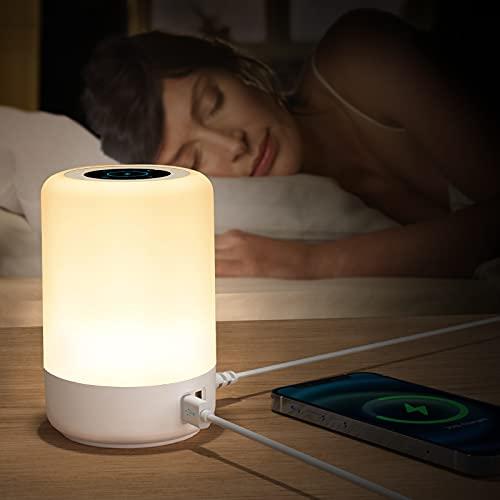 Taipow Lampara Escritorio, Luz LED, Lampara de Mesa, Luz Nocturna Infantil, 4 Puertos de Carga USB, Lampara Mesita Noche Regulable de Siete Colores que Cambian RGB(EU plug)
