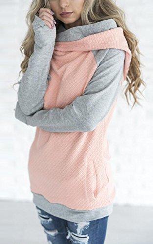 ECOWISH Damen Kontrastfarbe Pulli Pullover Rollkragen Sweatshirt Kapuzenpulli Top Hoodies Rosa L - 3
