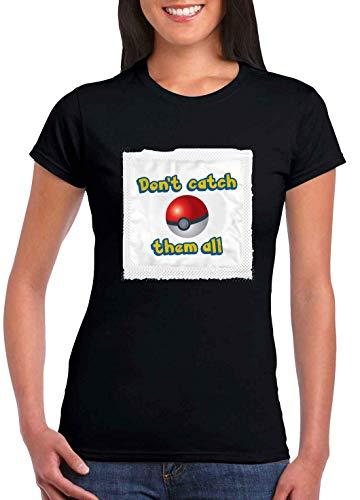 Sartamke niet vangen ze alle condoom vrouwen T-Shirt zwart
