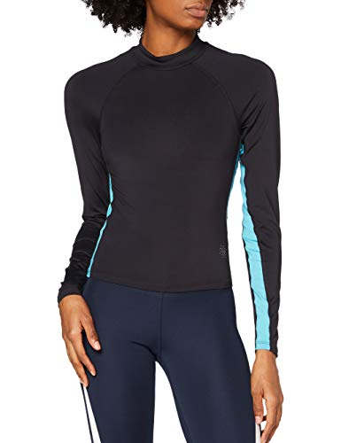 Amazon Marke - AURIQUE Damen-Langarm-Sportoberteil mit Seitenstreifen, Blau (Deep Well/Maui Blue), 38, Label:M