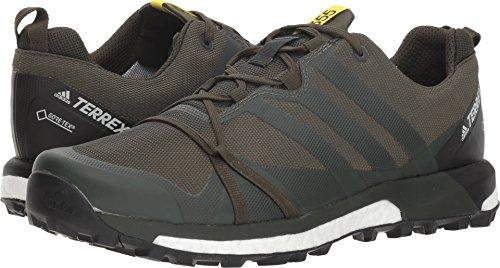adidas Men's Terrex Agravic GTX Hiking Shoe - Base Green/Base Green/Shock Yellow 8.5