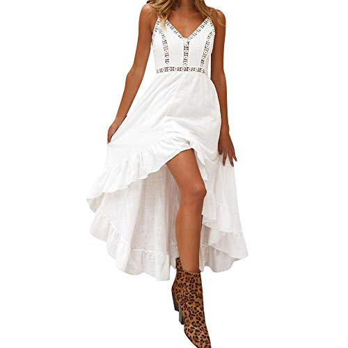 MEILINVREN Kleider, Sommer Damen Lange Boho Kleid, Elegante Weiße Spitze Ärmellose Maxi Kleider, Vintage Bohemian Midi Kleid Frauen Kleidung, Photo Color, L