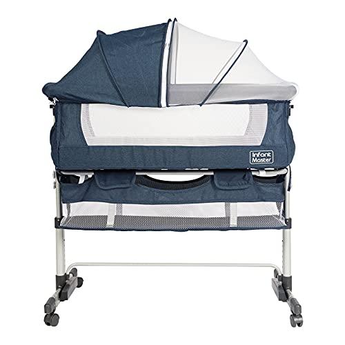 Infant Master Bassinet, 3 in 1 Crib for Baby, Movable Baby Bassinet, Portable Baby Bed, Rocking Cradle, Safe Co-Sleeper, Height Adjustment, Angle Tilt, Storage Bag, Ideal for Home & Travel, Blue