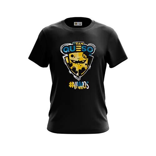 Team Queso Vamos Camiseta, Negro (Negro Negro), L para Hombre