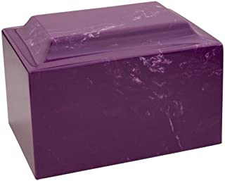 Silverlight Urns MacKenzie Vault Amethyst Marble Funeral Urn, Purple with White Marbling, Adult Sized Cremation Urn