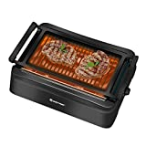 COSTWAY Smokeless Grill, Compact & Portable Indoor Electric BBQ Grill w/ Advanced Infrared Technology, Constant Temperature Barbecue Grill, Non-stick Surface & Removable Drip Tray for Easy Cleaning, Dishwasher-Safe , Black (19'L×15'W×6.7'H)