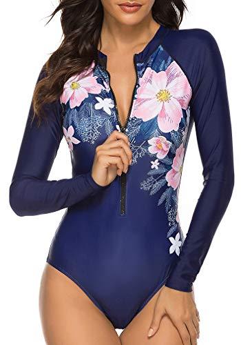 Socluer Femme Maillot de Bain 1 Pièce Élégant Amincissant Surf Rashguards Imprimé à Manches Longues Protection UV M,Bleu Fonce