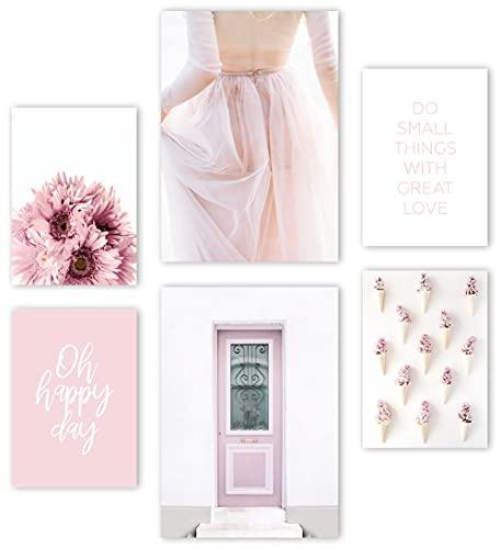 Mia Félice Premium Poster Set » Sweet Pink « 2x A3 | 4x A4 - Moderne Bilder für das Wohnzimmer & Schlafzimmer - Wandbilder ohne Rahmen - Flur Deko - Dekoration