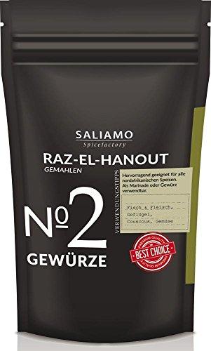 Raz el Hanout Gewürzmischung, Ras El Hanout, afrikanisches Gewürz, mild pikant marokkanische Spezialität für Couscous, 250 g | Saliamo
