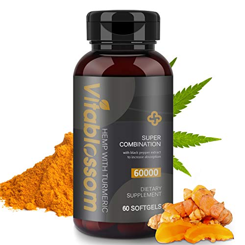 Hemp Capsules 60000MG, with Turmeric 95% Curcuminoids & Black Pepper Extract, Advanced Absorption Vegan Friendly Formula Softgels - 60 Capsules