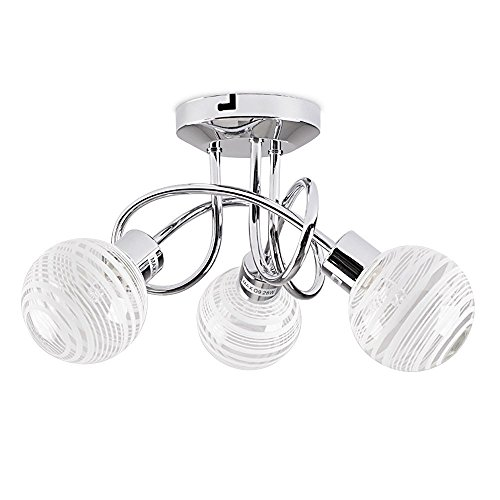 Modern 3 Way Polished Chrome Flush Curved Arm Ceiling Light with Beautiful Clear and Frosted Glass Circular Ring Design Globe Shades