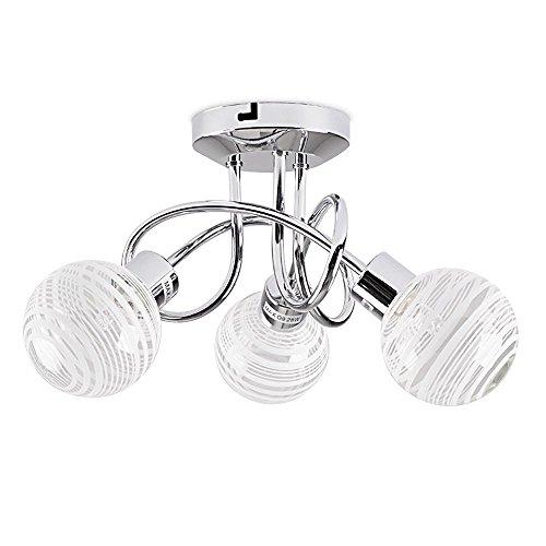 MiniSun – Plafoniera moderna e curvata con 3 faretti, una finitura di colore di argento e 3 paralumi di vetro chiaro e vetro opalino – lampada da soffitto