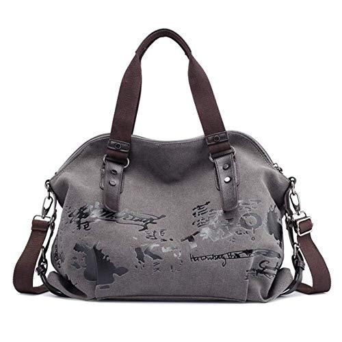 B&H-ERX Modetrend Freizeittasche Frauen mit großer Kapazität Umhängetasche Leinwand Handtasche Einfache Casual Bag Student Handtasche Aufbewahrungstasche Graffiti-Druck Tasche,D