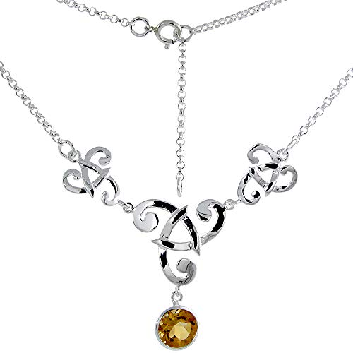 Sterling Silver Celtic Triskelion Necklace with Genuine Citrine 16-17 inch Long