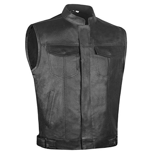 Men's Armor SOA Perforated Leather Motorcycle Breathable Biker Club Vest XXL