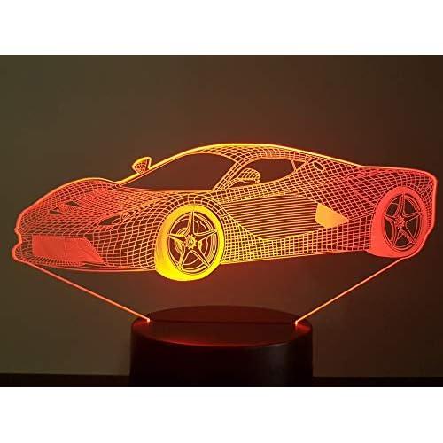 FERRARI LA FERRARI (F),Lampada illusione 3D con LED - 7 colori.