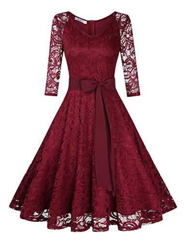 KOJOOIN Damen Vintage Kleid Brautjungfernkleid Knielang Langarm Spitzenkleid Cocktailkleid Bordeaux Weinrot M