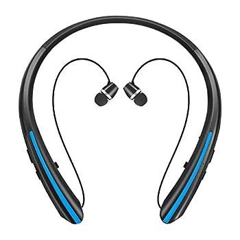 Bluetooth Retractable Headphones Upgraded Wireless Earbuds Neckband Headset Sports Sweatproof Earphones  20 Hours Playtime Blue