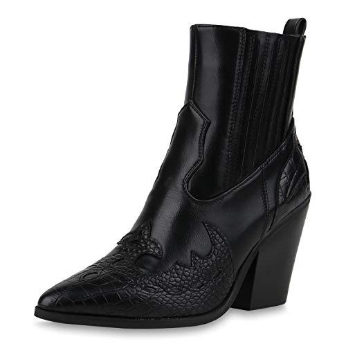 SCARPE VITA Damen Stiefeletten Cowboy Boots Chunky High Heels Western Schuhe Animal Print Cowboystiefel Holzoptikabsatz Westernstiefel 192018 Schwarz Kroko 37
