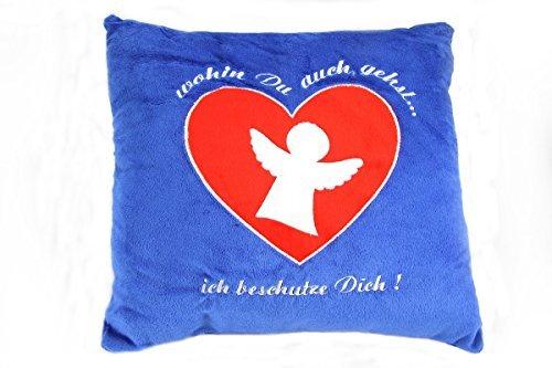 Pluche kussen kussen sierkussen sofakussen spreukenkussen geborduurd beschermengel beige blauw blauw