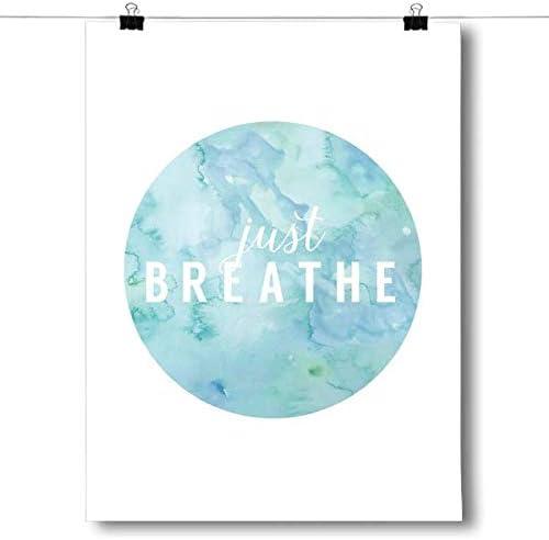 Typography Print,Poster Unframed Wall Art Words Breathe Yoga Modern Art