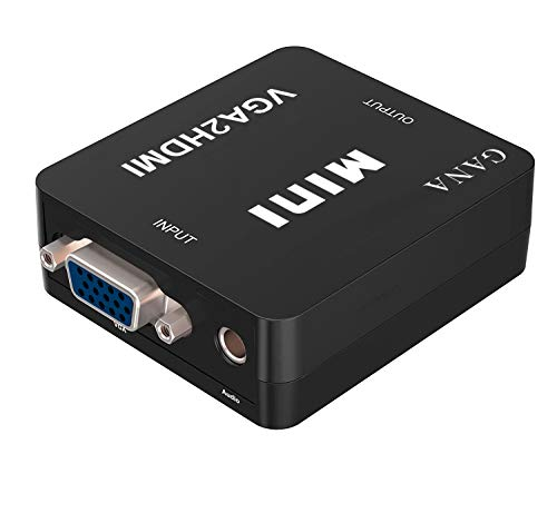 GANA VGA auf HDMI Konverter | VGA zu HDMI Adapter 1080P HDTV mit Audio Kabel und USB Stromversorgungskabel für TV, Computer, Projektor, Laptop, DVD