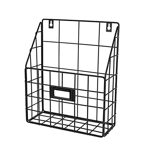 wuwu Cesta de correo de cables - Carpeta colgante de pared/organizador de documentos - Económico y fácil de instalar Tray Fit para Office Home & More (1 SL (Color : Black)