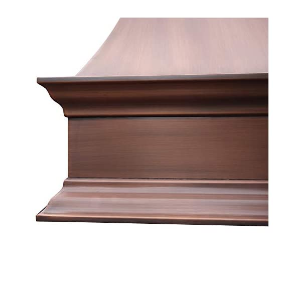 """SINDA Natural Beautiful Copper Kitchen Hood, Handcrafted by Skilled Artisan, Comes with High Air Flow Motor Fan, 48""""Wx42""""H Island Mount, Smooth-Natural Copper, H17SC-SNI4842 6 SIZE: Island Mount 48""""Wx42""""H.The width of an island mount copper range hood should be 3-6 inches wider than the cooktop. And the height range between your cooktop and the copper range hood should be from 30 to 36 inches. We suggest a height of 36 inches for an island mount. Custom sizes available upon request by email. Material: 16 gauge pure virgin copper. PATINA&TEXTURE: Smooth; Natural Copper. Want to touch a real finish? You may click on this link: https://www.amazon.com/dp/B07Q3FS4NQ. BASIC EQUIPMENT: Stainless Steel 304 Vent with Liner and Internal Motor, Reusable Baffle Filter, Grease Channel, Yellow LED lights(3W 12V) and 4-Speed Control; Powerful Airflow Fan: (30""""/36""""W: single motor, 610 CFM, 6"""" round duct; 42""""/48""""W: dual motors, 960CFM, 8"""" round duct); Ductless and remote blowers with In-line liner options available upon request by email;"""