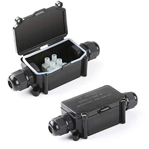 HLFVLITE Abzweigdose Aussen, wasserdichte 2 Wege Verbindungsdose Elektrischer Anschlussdose, PG9 Kabelverschraubung, Außenverteilerdose für Ø4-8 mm Netzkabel