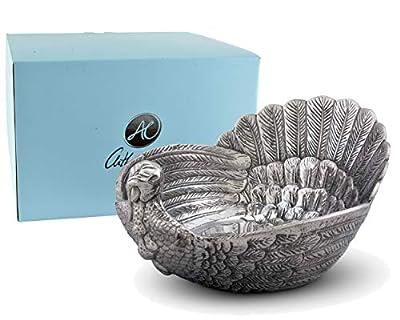 "Arthur Court Serving Salad Bowl Turkey Large Thanksgiving Table Serving Bowl - 5.75"" x 10.5"" x 13"""