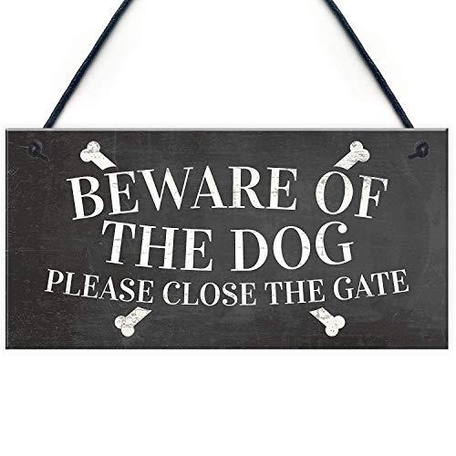 Meijiafei Beware of The Dog Warning Sign Garden Gate House Door Hanging Outdoor Plaque Gift 10' X 5'
