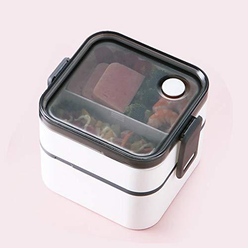 siqiwl Fiambrera de 2 capas de almuerzo Bento cajas portátil sana caja de almuerzo contenedor de alimentos microondas horno con cubiertos lonchera 800-1000ml blanco
