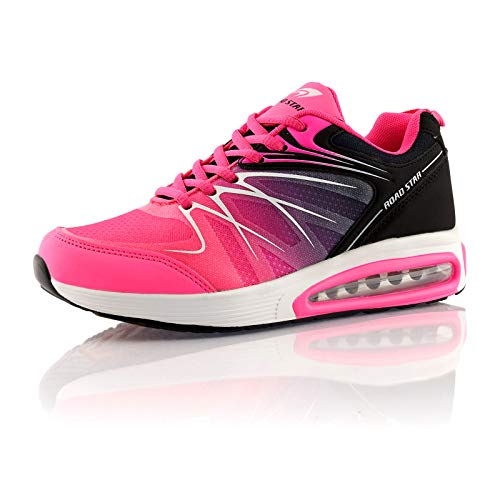 Fusskleidung® Damen Herren Sportschuhe Dämpfung Sneaker leichte Laufschuhe Pink Schwarz EU 38