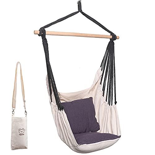 Keldoner Hammock Chair Swing with 2 Cushions Drinks & Cell Phone Bag, 500 lbs Weight Capacity – Hammock Swing Chair for Porch, Balcony, Bedroom, Patio, Yard,Garden