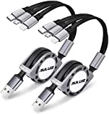 2 Pack Rulus 4Ft 3.0A Retractable Multi USB Charger Cord, Multiple Charging Cable 3-in-1 USB Charge Cord with Type-C/Micro-USB Port Compatibility with Cell Phones/Galaxy S10/S9/S8/S7/Huawei/LG (Gray)