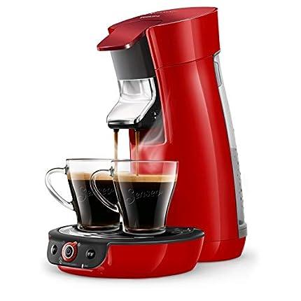 Philips HD6564/81 SENSEO Viva Café Duo Select - Cafetera de monodosis (dosis baja), color rojo brillante