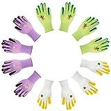 Jardineer 6 Pairs Mud Gardening Glove for Women and Men with Nylon Fabric