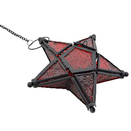 Sziqiqi Hänge Farblicher Fünf-Sterne Kerzenhalter Aus Glas, Eisen Kerzenhalter, Kerzenhalter Ornament Für Abendessen, Rot