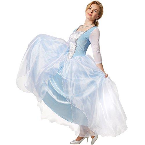 dressforfun Edles Prinzessinnenkleid Cinderella | Ballkleid aus glänzendem Stoff und Überrock aus Tüll (M | no. 301884)