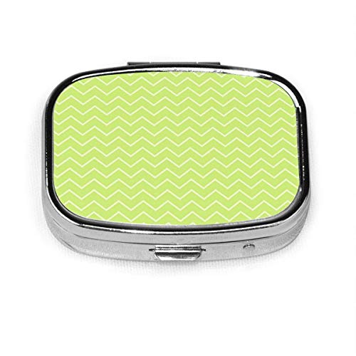 Square Pill Case with 2 Compartment,Small Pill Case Portable for Pocket Purse, Travel Pills Box Gray Abstract Vintage Chevron Model-Lime Green Pastel Artistic