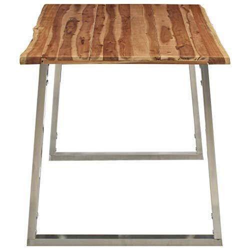 Festnight Esstisch 160×80×75 cm Akazie Massivholz und Edelstahl Küchentisch Holztisch Speisetisch Esszimmertisch