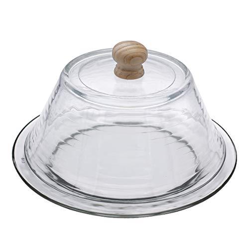 Quesera Redonda Totalmente de Cristal – Caja Queso Base y Tapa de Cristal – Ideal para Conservar Frescos Tus Quesos - Diámetro Ø 25cm