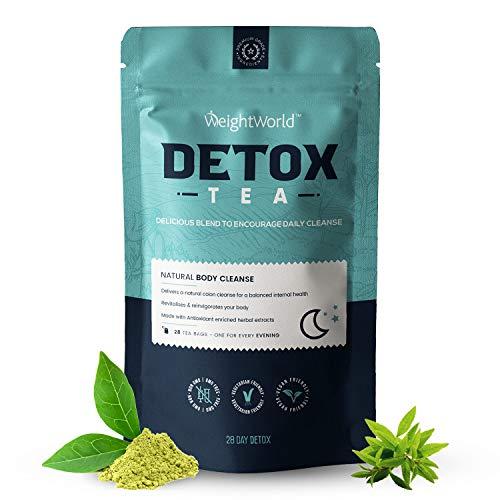 Detox Tee - 28 Tage Kur mit Brennnessel, Löwenzahn, Grüner Tee & Weißer Tea Extrakt - Kräutetee ohne Zucker - Detox Tea Mischung für Ihr Wohlbefinden - 28 Teebeutel - Von WeightWorld