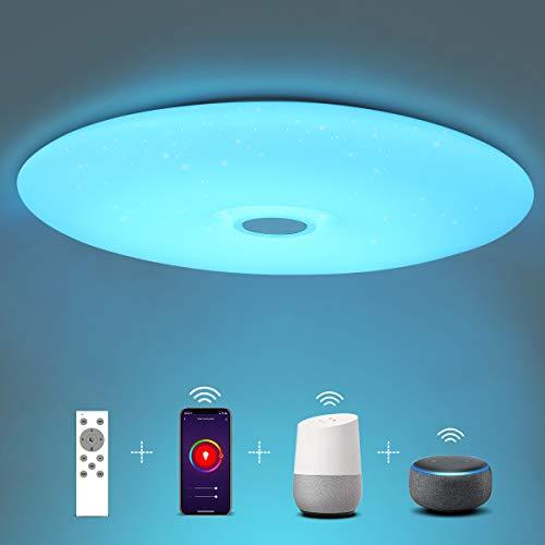 SHILOOK Deckenlampe Led Dimmbar mit Fernbedienung, 24W Smart Led Deckenleuchte Rund Farbwechsel Kompatibel mit Alexa/Google Assistant, IP44 3000-6500K 2050LM, Weiß 38cm Modern
