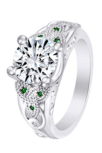 AFFY Round Simulated Emerald & White Cubic Zirconia Celtic Knot Solitaire Engagement Ring 14k White Gold Over Sterling Silver