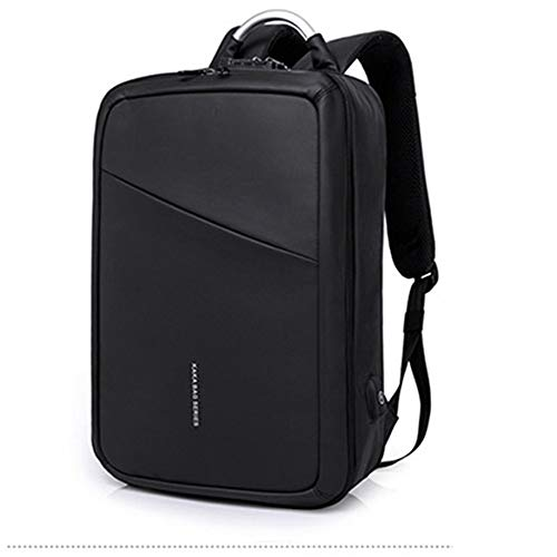 LaLa POP Schoolbag Travel Business Men's Backpack Computer Backpack/Backpack Solid Color Polyester (Color : Black)