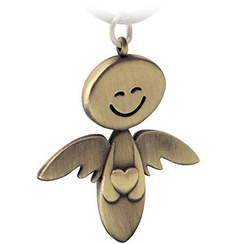 FABACH Schutzengel Schlüsselanhänger Smile mit Herz - Edler Engel Anhänger aus Metall in mattem Bronze - Geschenk Glücksbringer Auto Führerschein - Fahr vorsichtig