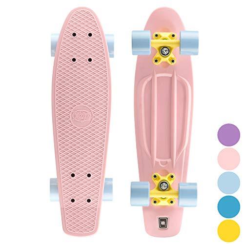 Xootz Cruiser Skateboard, für Kinder geeignet, im Retro-Design, aus Plastik, gebrauchsfertig Rosa Rose 22-Inch