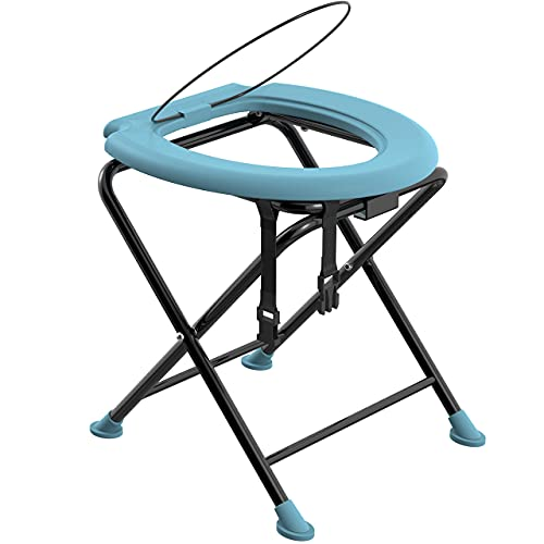 Portable Folding Toilet Seat   Porta Potty Commode for Camping, Fishing, Long Car Rides & Construction Sites, Comfortable Stool for Living Outdoors, Travel & Backpacking, Built-in-Ring: No Spill