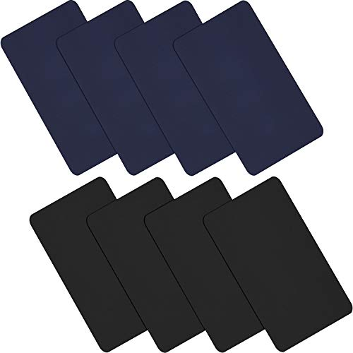 WILLBOND 8 Stücke Nylon Reparatur Patches Selbstklebende Nylon Patches wasserdichte Reparatur Patches für Kleidung Daunenjacke Zelt Kleidung Tasche (Schwarz, Dunkelblau)